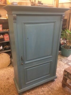 Austro-Hungarian Shelved Cupboard or Armoire. Locking Door With Tasseled Key.