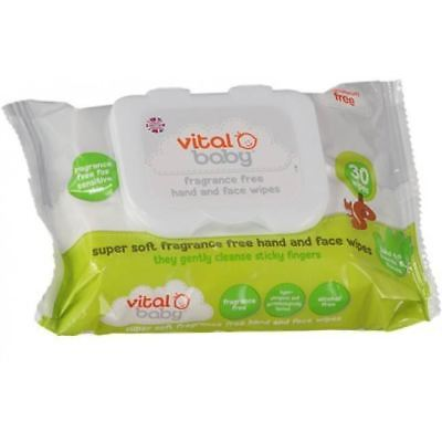 Vital Baby FRAGRANCE FREE HAND AND FACE WIPES Baby/Toddler Cleaning BN