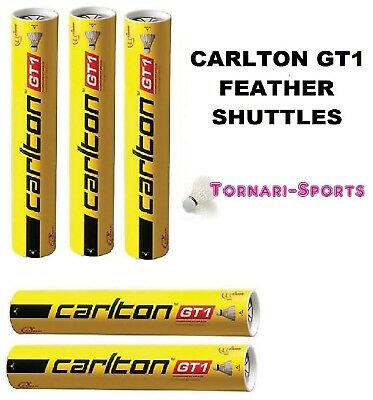 5 x CARLTON GT1 speed 77 FEATHER SHUTTLES SHUTTLECOCKS 5 x TUBES OF 12 SHUTTLE