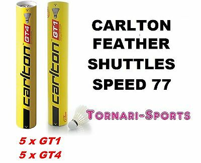 10 x CARLTON FEATHER SHUTTLES SHUTTLECOCKS 5 x GT1 / 5 x GT4 Speed 77