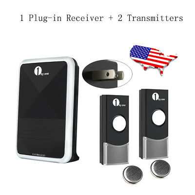 1byone 36 Melodies Wireless Doorbell 2 Remotes + 1 Plug-in Receiver Energy Save
