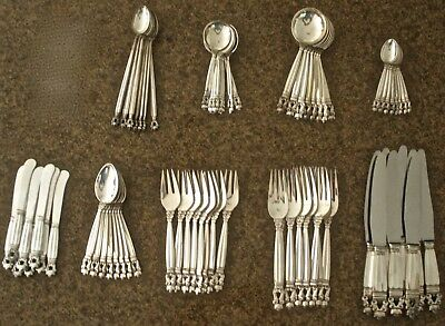 72 Pc Dinner Set Sterling Jensen Acorn Pattern Flatware Service For 8 X 9 Pc