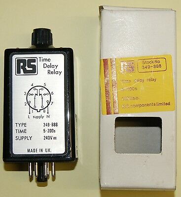 RS 349-888 TIME DELAY RELAY/SWITCH 5-200 seconds OCTAL BASE MOUNTING