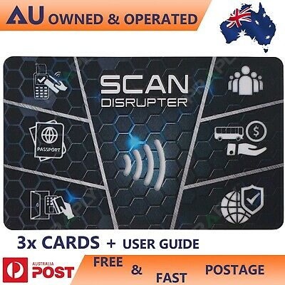 RFID Scan Blocker Guard Card 3 CARDS with User Guide Scan Disrupter