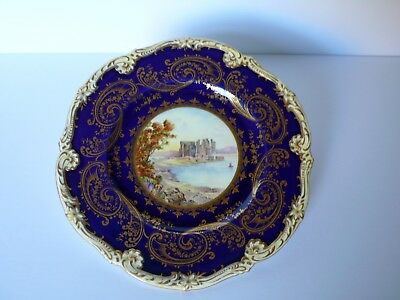 "Antique English Coalport Cobalt Blue ""CONWAY CASTLE"" Cabinet Plate Signed"