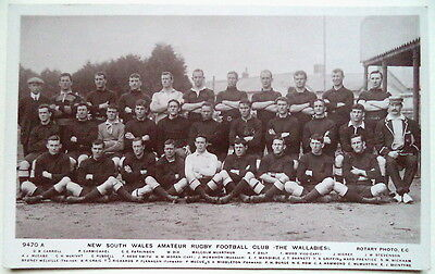 Australia Wallabies Rugby Union To Uk 1908-09 Postcard