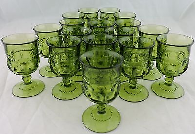 Vintage Green Goblet Indiana Small Glass Kings Crown Thumbprint Set 18 Stemware