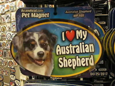 I Love My Australian Shepherd 6 inch oval magnet for car or anything metal  New