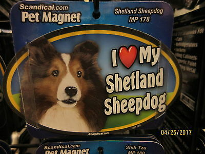 I Love My Shetland Sheepdog 6 inch oval magnet for car or anything metal  New