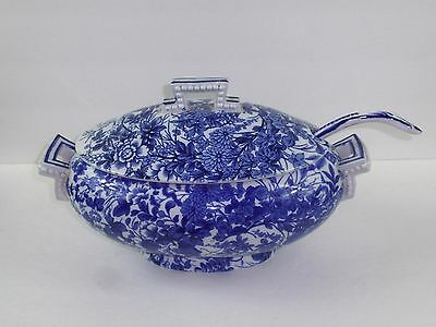 BROWN WESTHEAD MOORE 1878 Blue and White Tureen and Ladle, Japan Pattern