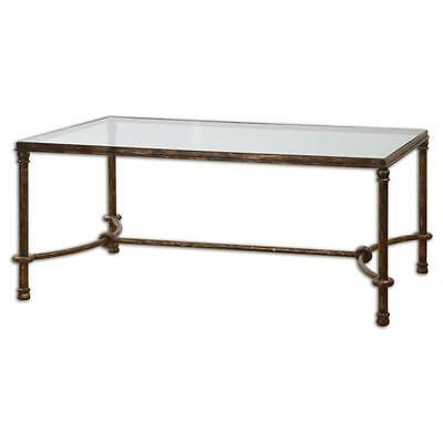 Luxe EQUESTRIAN Iron Coffee Table Rustic Bronze Rings Cocktail Horse Glass