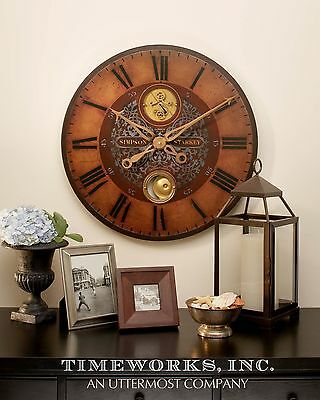 Antique Style Exposed Brass Gears Pendulum Wall Clock