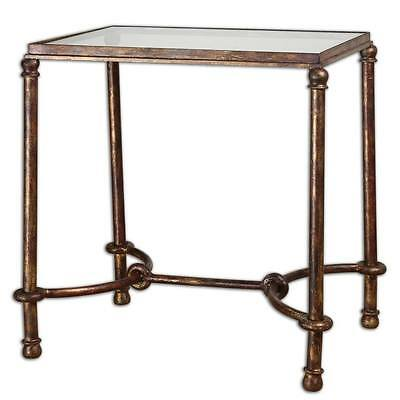 Luxe EQUESTRIAN Iron End Table Rustic Bronze Rings Accent Horse Glass
