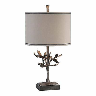 Modern Bronze Silver Tree Sculpture Table Lamp | Cast Iron Metal Branches