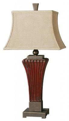 Designer Art Deco RIBBED CERAMIC Red Brown Table Lamp Bronze Vintage Antique