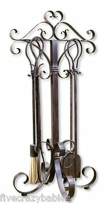 Neiman Marcus OLD WORLD Iron FIREPLACE TOOL SET Scroll Hearth Fire Antiqued