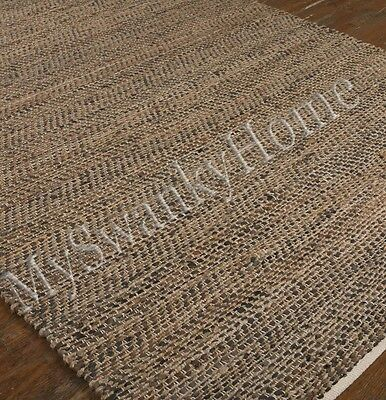 5 X 8 Hand Woven Brown Rescued Leather Area Rug Neiman Marcus