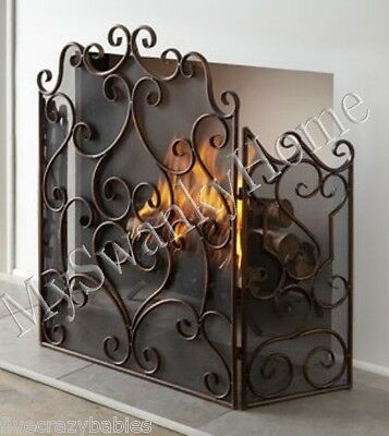 Neiman Marcus BRONZE SCROLL Firescreen Fireplace Screen Antique Old World French