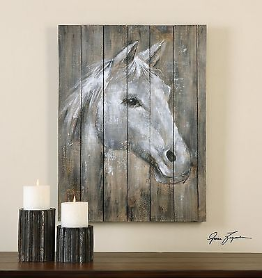 Rustic Reclaimed Wood Horse Wall Art   Painting Lodge Ranch Cottage