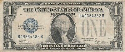"1928A $1 Blue ""FUNNY BACK"" SILVER Certificate Old US Paper Currency"