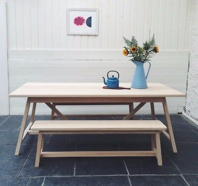 Scandinavian Style Dining Kitchen Table Handmade in Solid Ash Oak Farmhouse Chic
