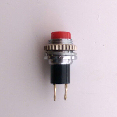 Red push button pushbutton switch - approx 9.65mm mounting hole,  knurled nut