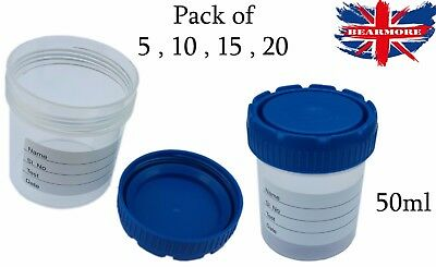 Lab Supplies Disposables 50ml Sample Urine Container Specimen Stool Bottle lid