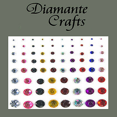1mm - 8mm Mixed Colours Diamante Self Adhesvie Rhinestone Body Nail Vajazzle Gem