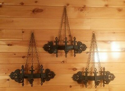 Antique/VTG Gothic Chain Hanging Wall Candelabra/Candle Holders,Medieval Revival