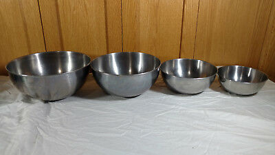 VINTAGE VOLLRATH STAINLESS Steel Bowl Set of 4 Nesting Mixing Bowls ...