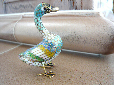 Cloisonne  Gans Vogel Figur Messing Metall Emaille