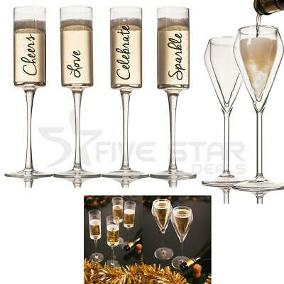 Set Of 2 / 4 Champagne Bubbles Wine Flute Flutes Glass Glasses  Party Xmas Gift