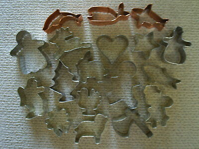 Lot of 18 small metal Cookie Cutters ~~ Gingerbread man, Reindeer, Chistmas tree