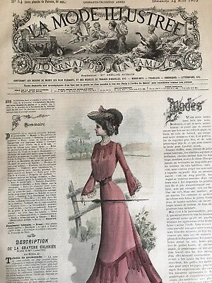 French MODE ILLUSTREE SEWING PATTERN Aug 24 ,1902 COSTUME TAILLEUR