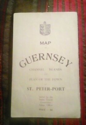 Map of Guernsey Channel Islands and Plan of the town St Peter-Port Ephemera