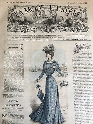 French MODE ILLUSTREE SEWING PATTERN June 15,1902 CORSET MODERNE ROBE A BASQUES