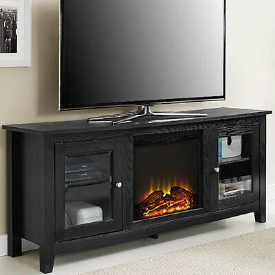 Pleasant Electric Fireplace Tv Stand Black Media Wood Console Heater Entertainment Center Download Free Architecture Designs Scobabritishbridgeorg