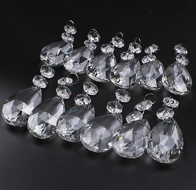 Chandelier Prisms Pendants Glass Hanging Clear Crystal Teardrop Beads Pack of 12