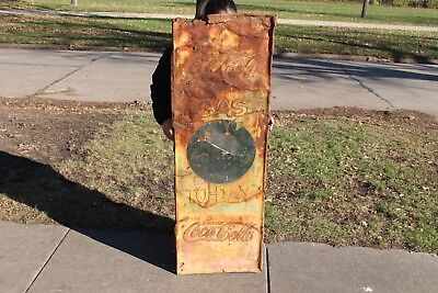 """Large Vintage 1930's Coca Cola Soda Pop Gas To-Day 54"""" Embossed Metal Sign"""