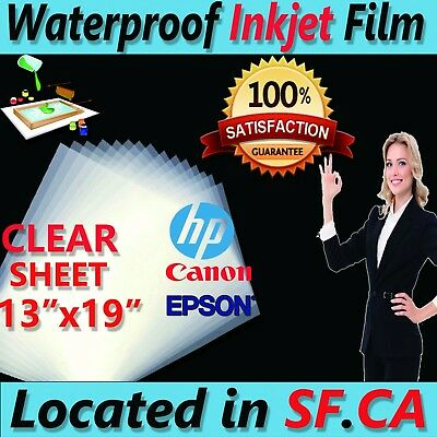 "13"" x 19"",Premium Waterproof Inkjet Transparency Film,75 sheets"