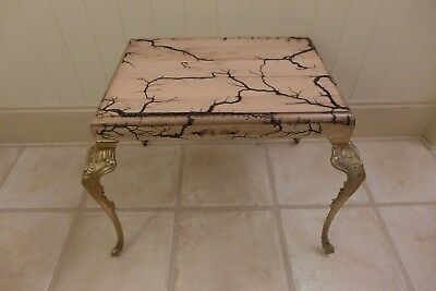Coffee Table Handmade Only One Very Unique With Lichtenberg Art Top Brass Legs