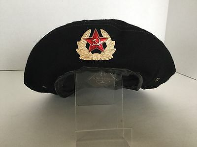 9365366b34e31 Vintage Soviet Russian Navy Beret Military USSR With Badge Size 55 Original
