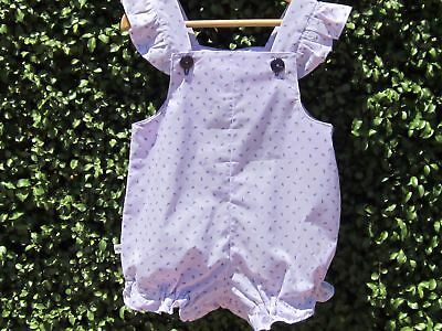 NEW Handmade Size 2 Girls Romper/Sunsuit Ruffle on straps purple rosebuds
