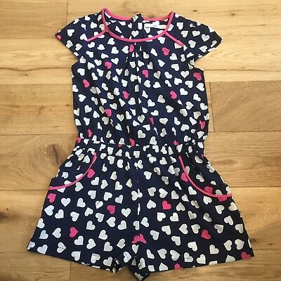 Gorgeous M&S Navy Blue With Pink Trim Hearts Patterned Shorts Playsuit - Age 6-7