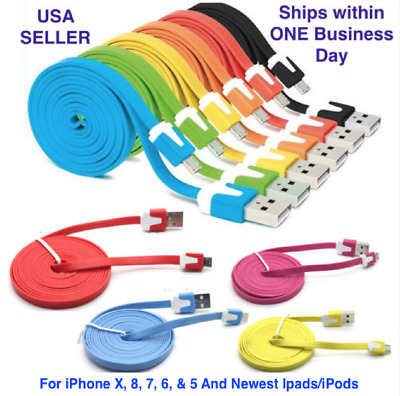 For iPhone 8, X, 7, 6, & 5 Charger 8-pin USB Flat Data Sync Lot, 3-10 ft cables