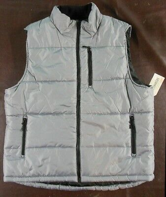 New w/ Tags Mens XL Down Style Silver/Gray Puffer Vest Outdoor Life $50 retail