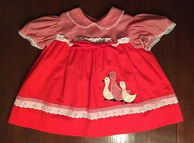 Vintage Baby Girl Toddler Dress Apple Red Checker Ducks Bow & Lace 18 Month EUC