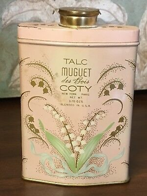 Vintage Pink Coty Talc Muguet Des Bois Powder Tin Lilly-of-the-Valley
