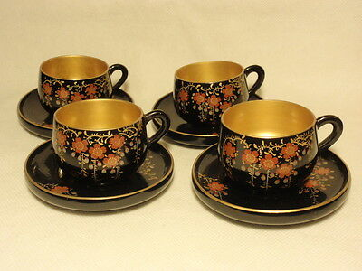 Oriental Flower Floral Black Lacquer Ware Gold Gilt Wooden Cup Saucer Set of 4