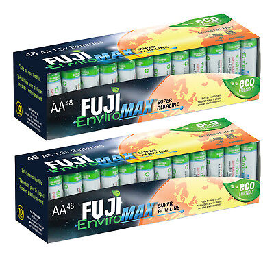 96 Fuji EnviroMAX Super Alkaline AA Eco Friendly Batteries